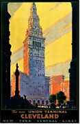 Union Terminal Cleveland New York Central Lines Vintage Poster Reproduction