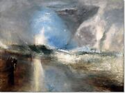 Stretched Canvas - Rockets And Blue Lights Painting By Jmw Turner Reproduction