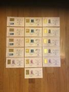 23k Gold Stamp Commemorative Lot Of 16 Famous Americans