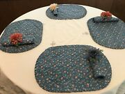 Vintage 1970's Vera Neumann Napkin Holders With Table Cloth/place Mats And Napkins