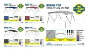 Bimini Top Boat Cover 3 Bow 6ft. Long 36 And 54 High Solution Dye Fabric/canvas