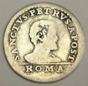 1676-89 Italy Papal State Grosso Sanctus Petrus Innocenzo Xi Silver Coin Poor