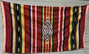 Vintage 1940andrsquos Mexican Saltillo Serape Wool Blanket Rug Extra Large 84 X 45.5