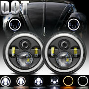 7 Inch Round Led Headlight Drl Black Fit For Volkswagen Volvo 144 122 142