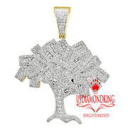 Real 10k Yellow Gold Genuine Diamond Money Growing Tree Cash Pendent Charm 1.55and039