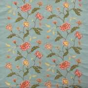 Colefax And Fowler Floral Scrolls Embroidered Silk Fabric 10 Yards Blue Rose Multi