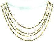 French Victorian 18k Yellow Gold Long Fancy Filigree Chain Necklace