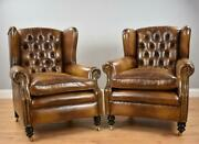 Pair Of Antique Hand Dyed Whiskey Brown Armchairs