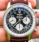 Breitling Navitimer 42 Black Boxes Brown Calf Automatic Pilot Aviation A23322