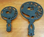 2 Vintage Wilton Cast Iron Trivet Wall Hanging Rooster Chicken Standard And Large