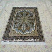 Yilong 4and039x6and039 Handmade Silk Carpet Antistatic Green Oriental Area Rug Ywx113a