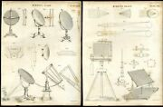 2 Antique Prints Burning Glass Mirrors Machinery Engravings - 1842