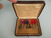 Belgium France 6 Miniature Medal Group In Gold And Diamonds. Rare Vf+. Cased R