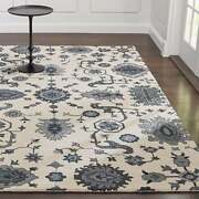 Crate And Barrel 6' X 9' Juno White Handmade Oriental Style Woolen Rugs And Carpet