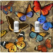 Metal Light Switch Cover Wall Plate Tan Damask Colorful Butterfly Party But002