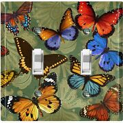 Metal Light Switch Cover Wall Plate Green Damask Colorful Butterfly Party But003