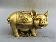 13and039and039 Brass Copper Carved Auspicious Animal Wealth Pig Saving Pot Money-box Pig