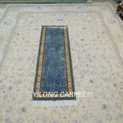 Yilong 2and039x6and039 Blue Handmade Silk Hallway Rug Runner Home Interior Carpet Y143a