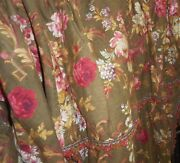Antique French 19th Floral Cotton Fabric Large Window Bed Pelmet Brown Red Pink