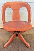 Antique Unusual Oak Desk Chair Banker Lawyer Delivery Available