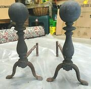 Antique Cast Iron Fireplace Andirons With Log Dogs Cannon Ball Top Welded