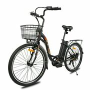 2636v 10ah 350w City Electric Bicycle E-bike Black With Basket 7 Speed
