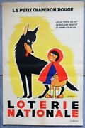 Original Vintage Little Red Riding Hood Poster - French National Lottery - 1950s