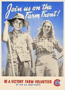 Original Vintage 40s Wwii Propaganda Poster - Join Us On The Farm Front - 1940s