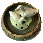 Weller Pottery Bowl Hand Painted Ducks And Raised Relief Bowl C. 1915
