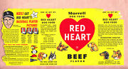 1954 Red Heart Dog Food Can Label W/ Stan Musial