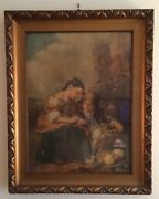 Antique 1920and039s Lithograph By Franz Hanfstaeng Original Wood Frame Germany A1