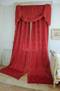 Pair Of Dark Red Silk Curtains Antique French Chinoiserie Damask Woven Pattern
