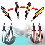 2x Led Red Brake Strobe Light + Amber Flowing Turn Signal Lamp For Motorcycle