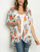 Emory Park White Sheer High Low Open Front Floral Kimono