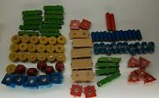 Vintage Blockfast Snap-n-play Wood Construction Toy And Building Blocks 83 Pieces