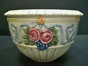 Antique Weller Art Pottery Roma Ivory Hanging Basket Swags Of Red 1914-1920s