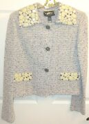 Nwt St. John Couture Crystal And Sequin Studded Lightweight Jacket Sz6