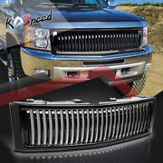 Black Vertical Fence Front Bumper Grill Grille For 07-13 Chevy Silverado 1500