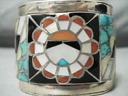 One Of The Biggest Best Vintage Zuni Turquoise Sterling Silver Inlay Bracelet