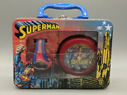 New 2002 Dc Comics Superman Metal Lunch Box Clock And Watch Set-free Shipping