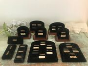 Vtg Antique Art Deco Velvet And Wood Ring Store Display Jewelry Display
