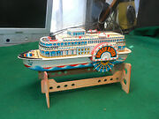 Modern Toys Queen River Tin Litho Paddle Boat Steamboat Vintage Battery Operated