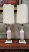 Pink Opalescent Murano Glass Table Lamps A Pair
