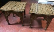 Vintage Pair Handmade Mother 4 Sides Of Pearl And Bone Mosaic Inlay Wood 2 Tables