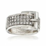 C. 1980 Vintage .80 Ct. T.w. Diamond Buckle Ring In 14kt White Gold. Size 8