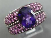 Large 3.36ct Aaa Amethyst And Pink Sapphire 18kt White Gold Round And Oval Fun Ring