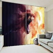 Wolf Tooth Brown Lion 3d Curtain Blockout Photo Printing Curtains Drape Fabric