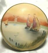 Vintage Hand Painted Green Mark Nippon Scenic Ships Lake Covered Powder Dish
