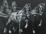 'synergy' Professional Canvas Carriage Driving Horses Print By Jessica Hill