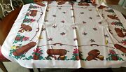 Vintage Bark Like Fabric Tablecloth Brown Butter Churns Buckets Red Geraniums
